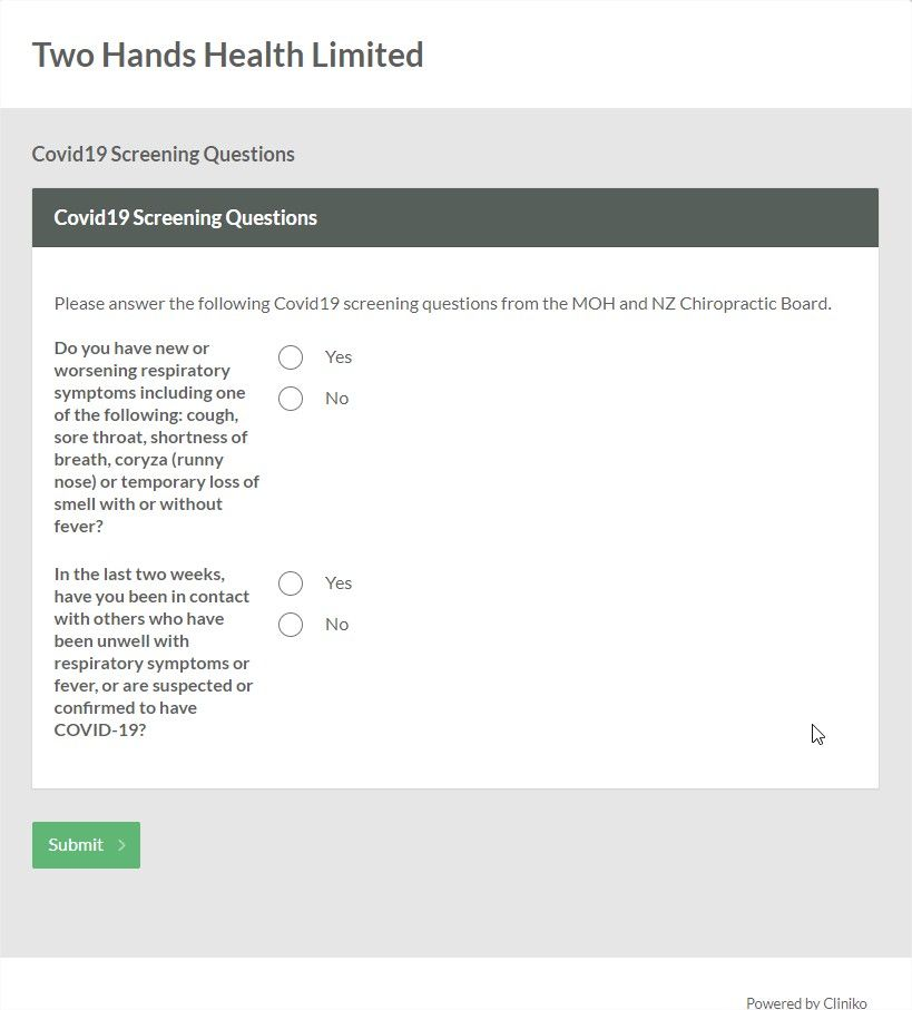 A screenshot of the COVID-19 form Two Hands Health Ltd developed to screen patients. Includes yes/no questions on symptoms or contact with others who have symptoms.