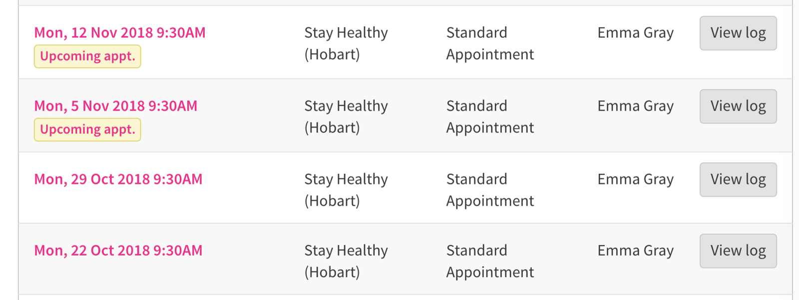 List of appointment with labels.