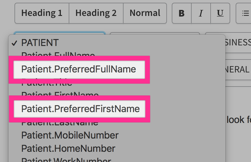 Communications template with preferred names placeholders