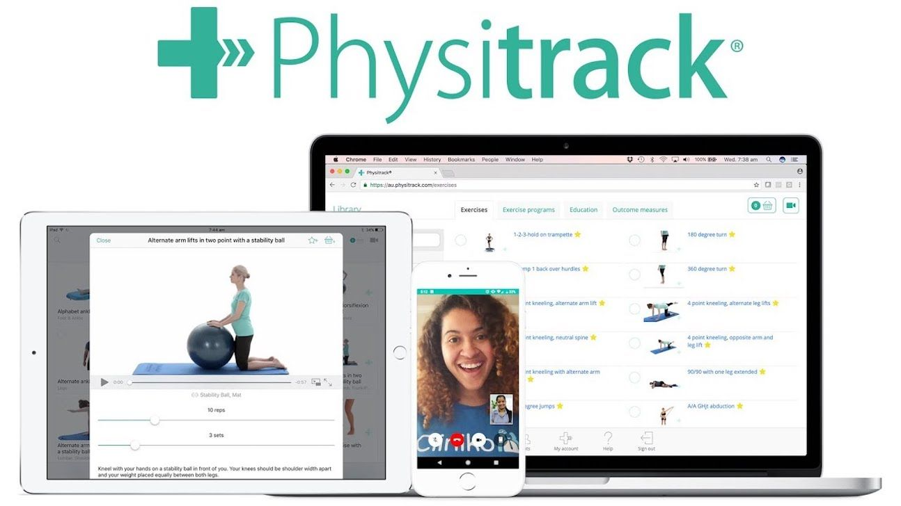 Physitrack screens in a phone, laptop and tablet.