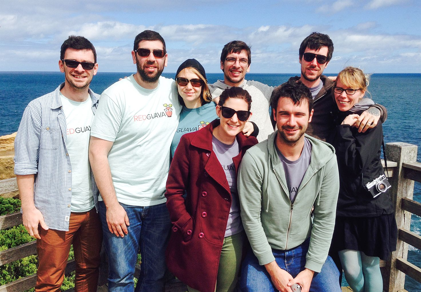 A group photo of members of the Cliniko team during a trip to Apollo Bay, Australia.