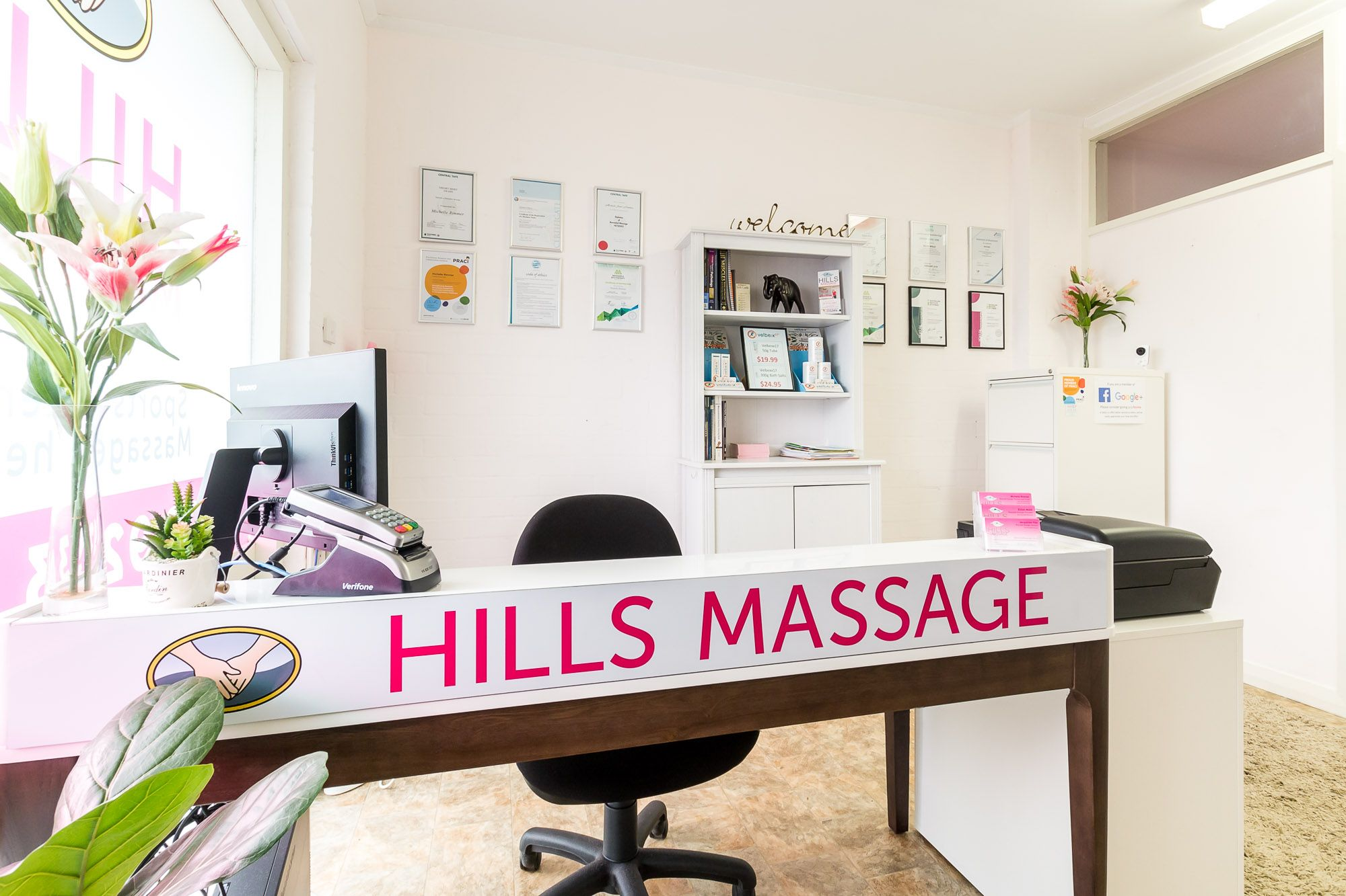 The reception desk at Hills Massage