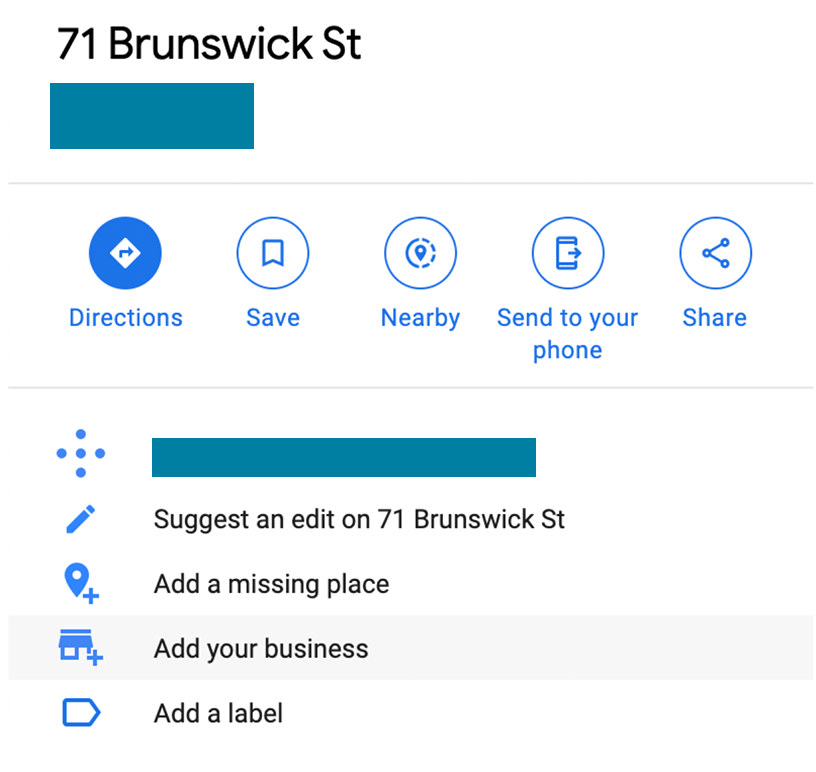 Screenshot of a non-business address listing on Google Maps