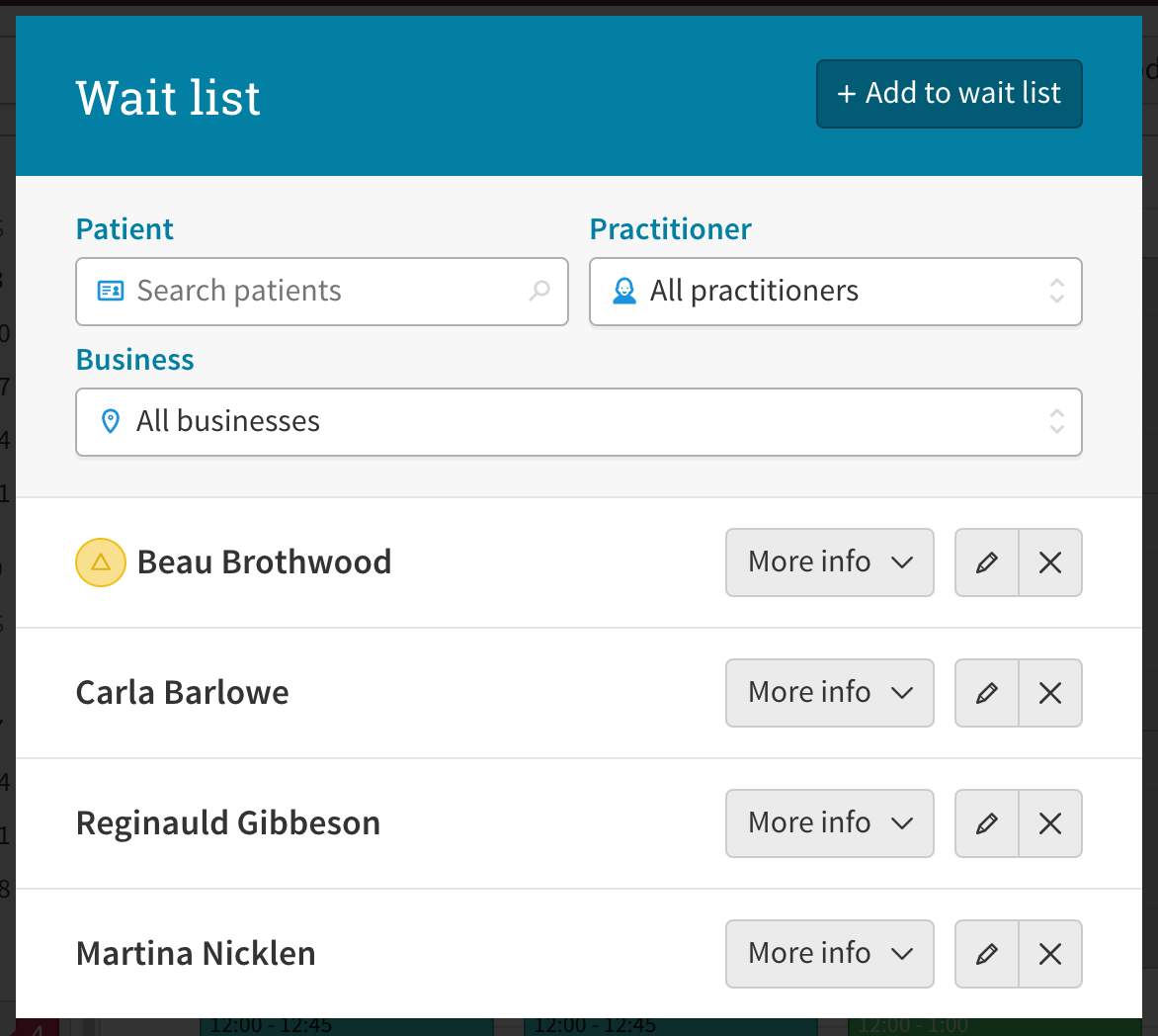 A screenshot of the wait list feature in Cliniko