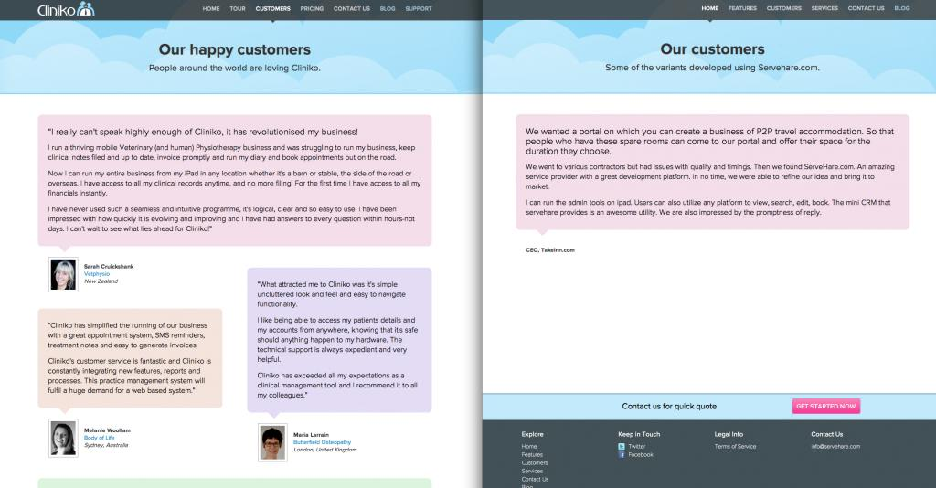 Competitor's customer page almost identical like Cliniko's customer page.