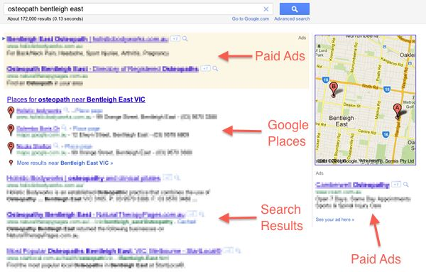 Google search results for osteopath bentleigh east.
