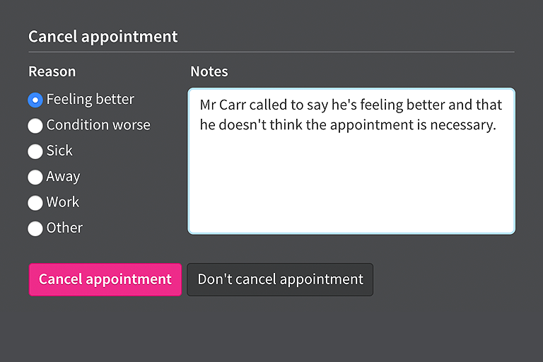 Notes for appointment cancellations.