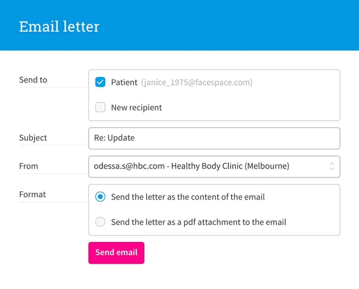 Email letter form with subject, recipient information and formatting options.