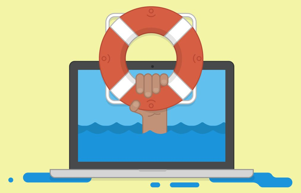 A laptop with the ocean on the screen and a hand with a life preserver coming out