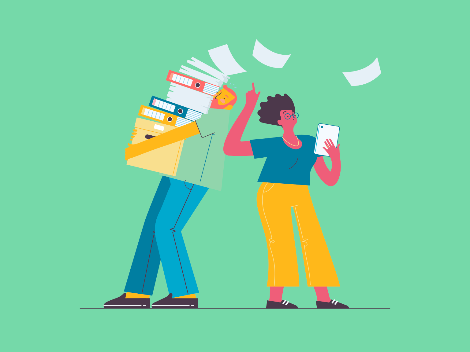 An illustration of a man carrying a stack of paper and folders and a woman with a tablet