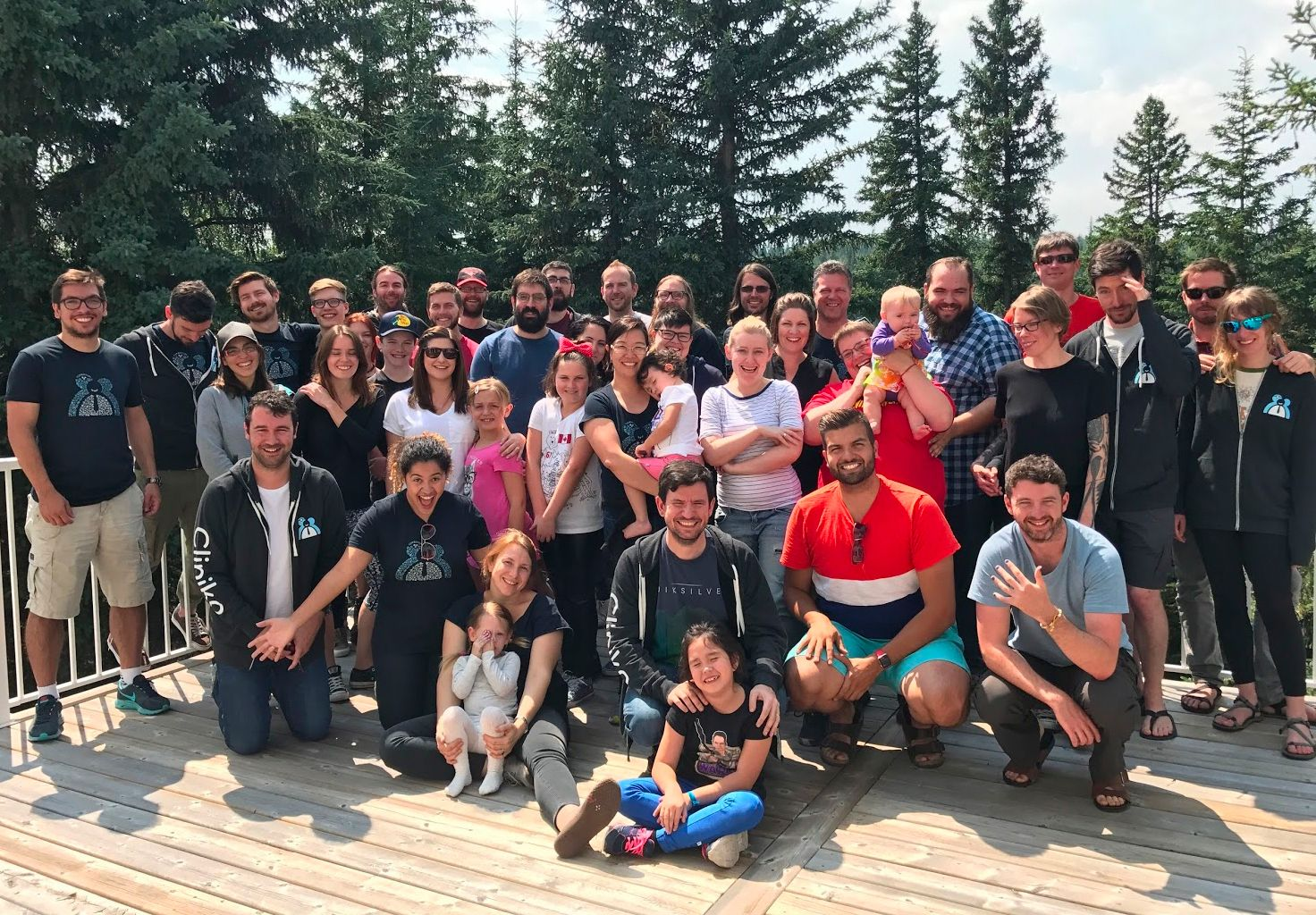A group photo of the Cliniko team and family members in Canada.