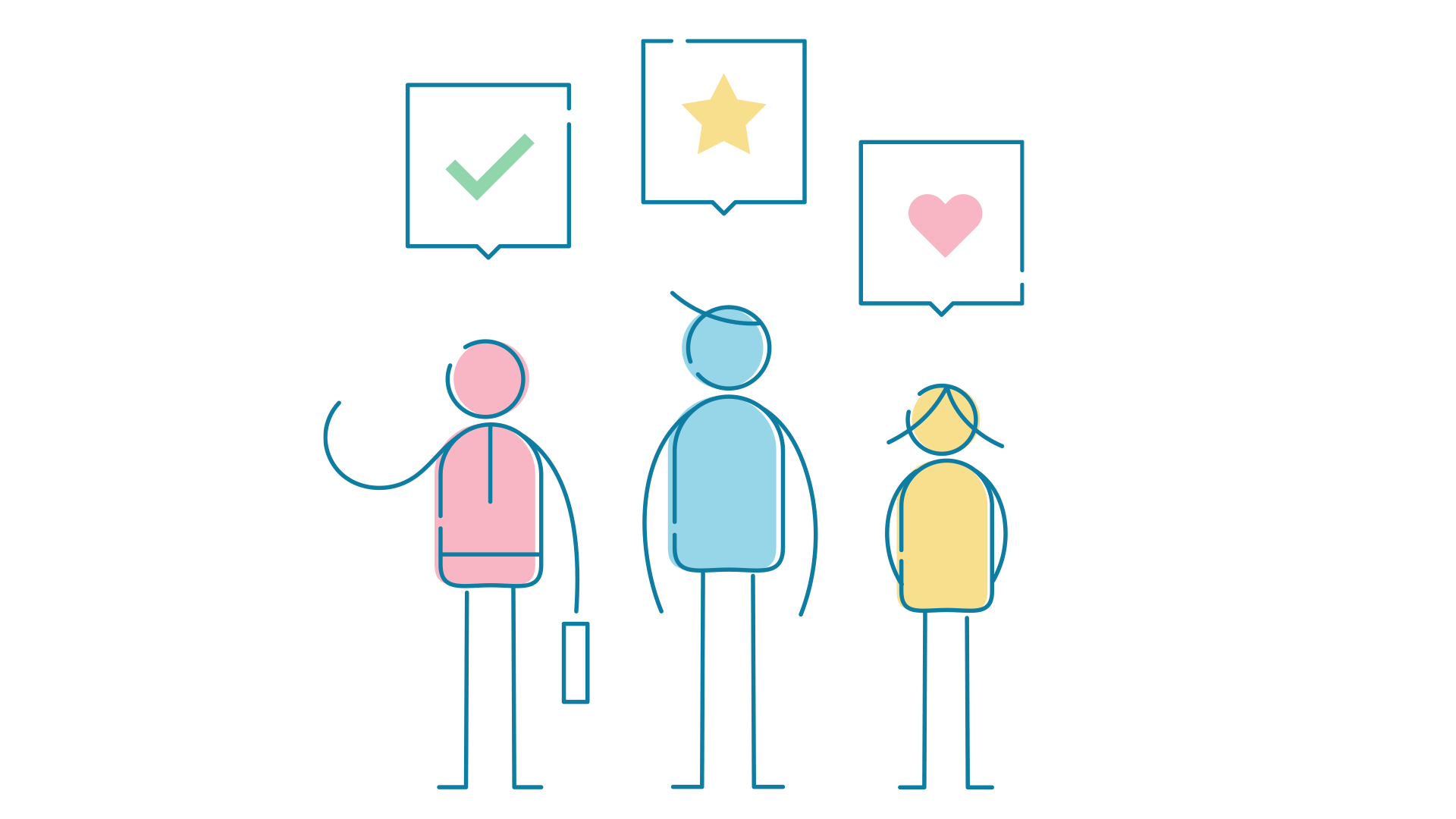 Three people with speech bubbles containing positive review icons.
