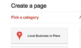 Google places form to pick a business category.