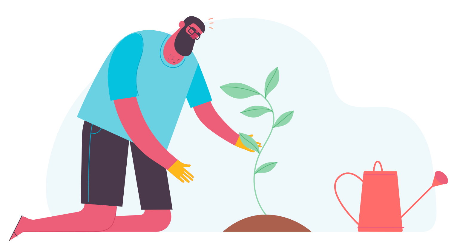 Illustration of a person tending to a plant that is growing