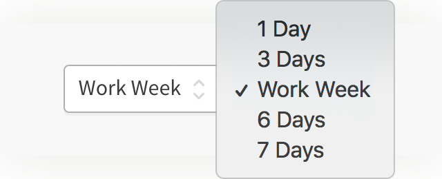 The user interface allows viewing your calendar as 1 day, 3 days, work         week, 6 days, or 7 days.