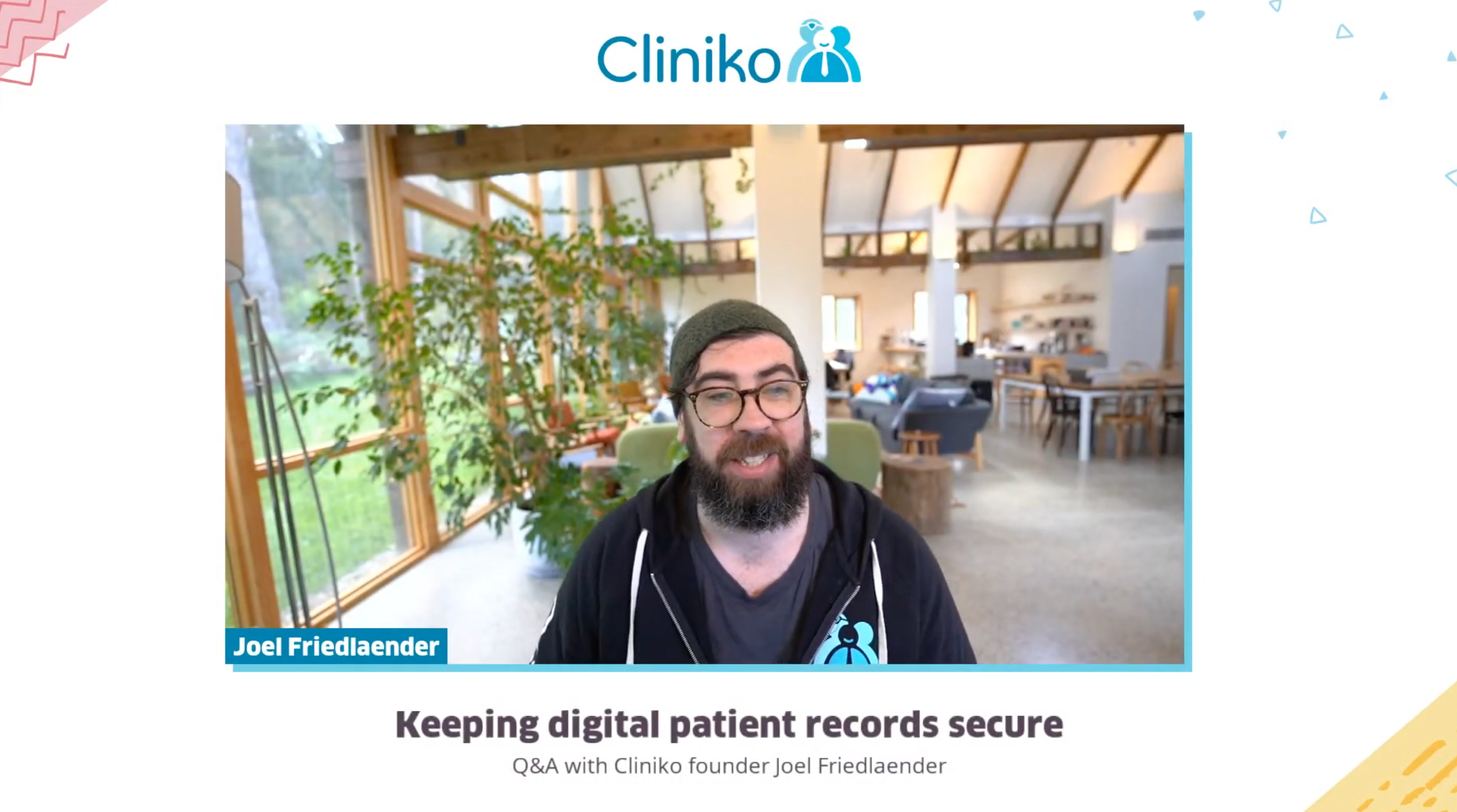 A screenshot of Joel starting the webinar on how to keep digital patient records secure.
