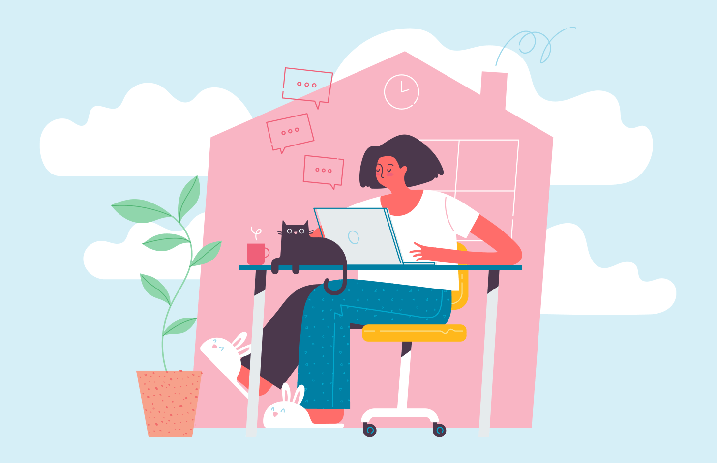 An illustration of a woman working on a computer at home