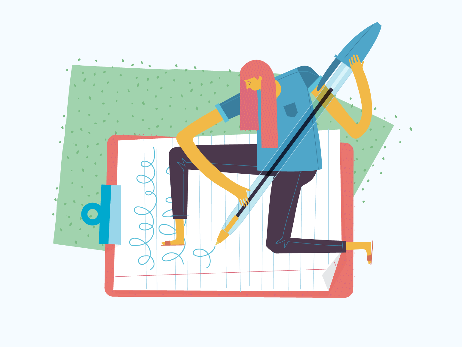 An illustration of a woman holding an oversized pen writing on a clipboard