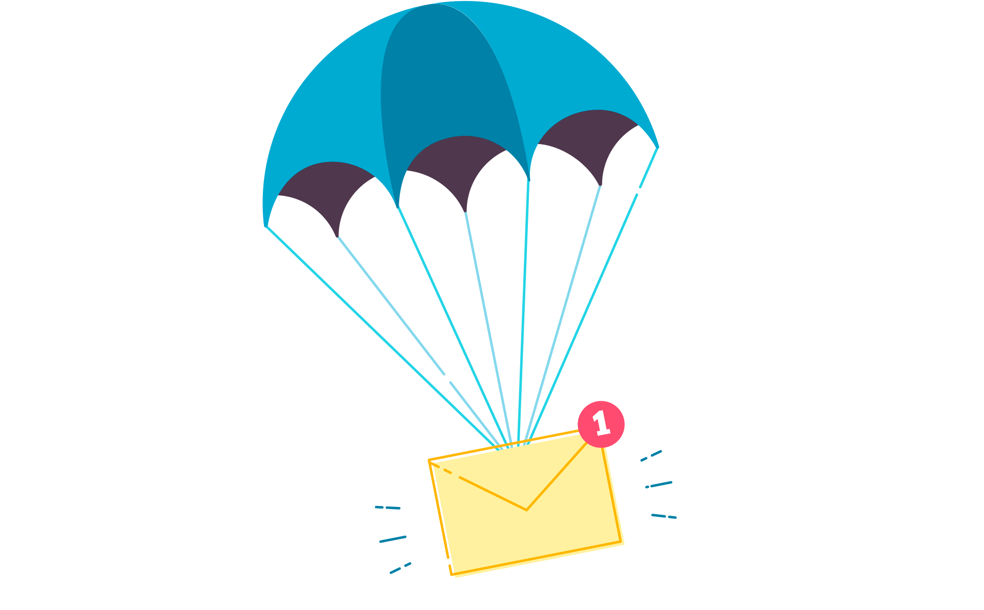 An email notification attached to a parachute.