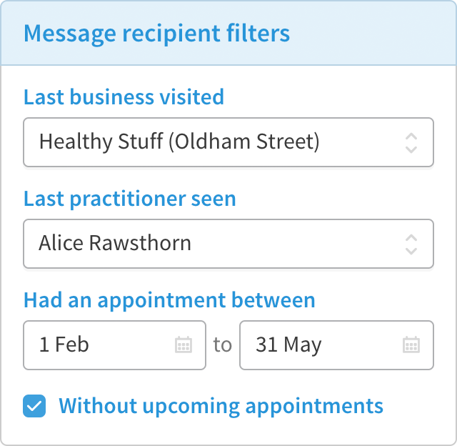 SMS filter form with business name, practitioner and date of appointment.