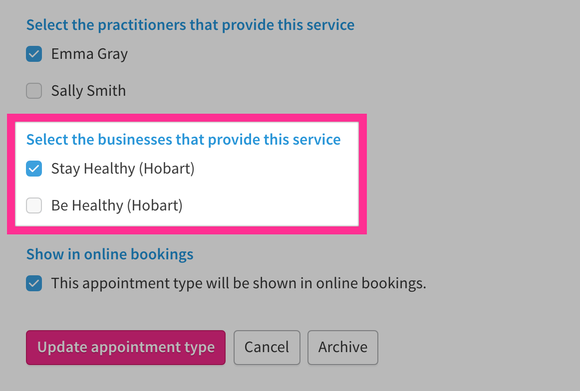 Checkboxes with names of business that provide a specific service