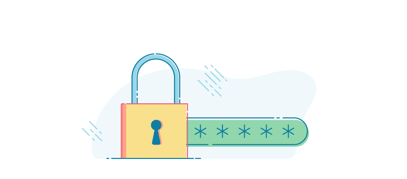 Illustration of a padlock in-front of a password input.