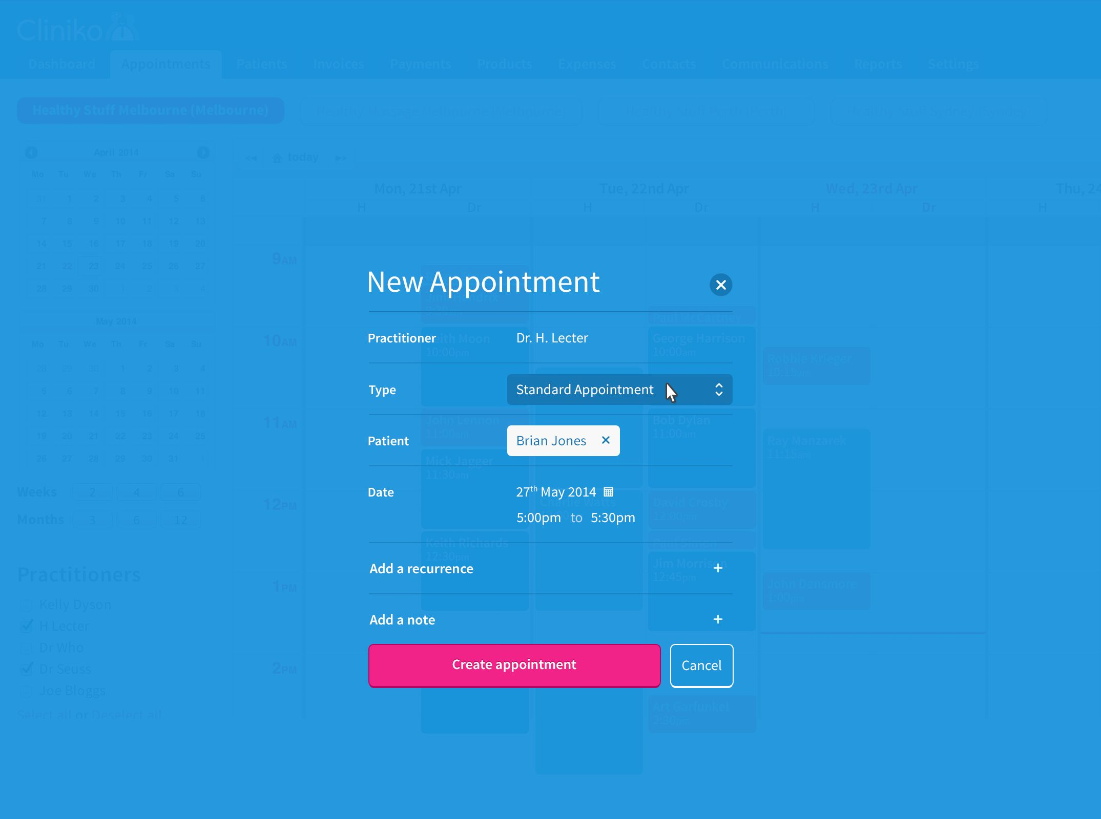 Create appointment screen idea
