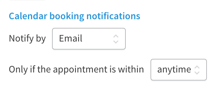 Settings for notification type for bookings.