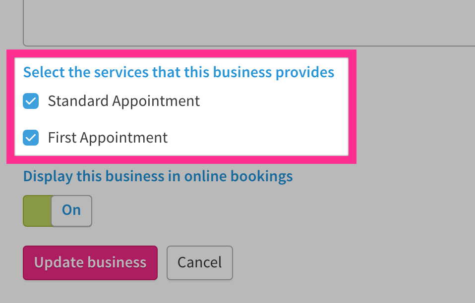 Checkboxes with name of services provided.
