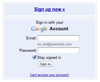 Google places login screen.