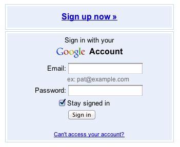 Google places login screen.