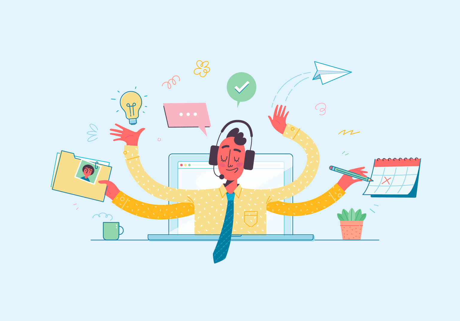 An illustration of a person with four arms and a headset 'juggling' office tasks