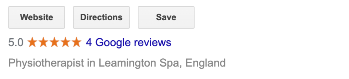 A screenshot showing that the Google rating for businesses appears right below the main navigation buttons in search results