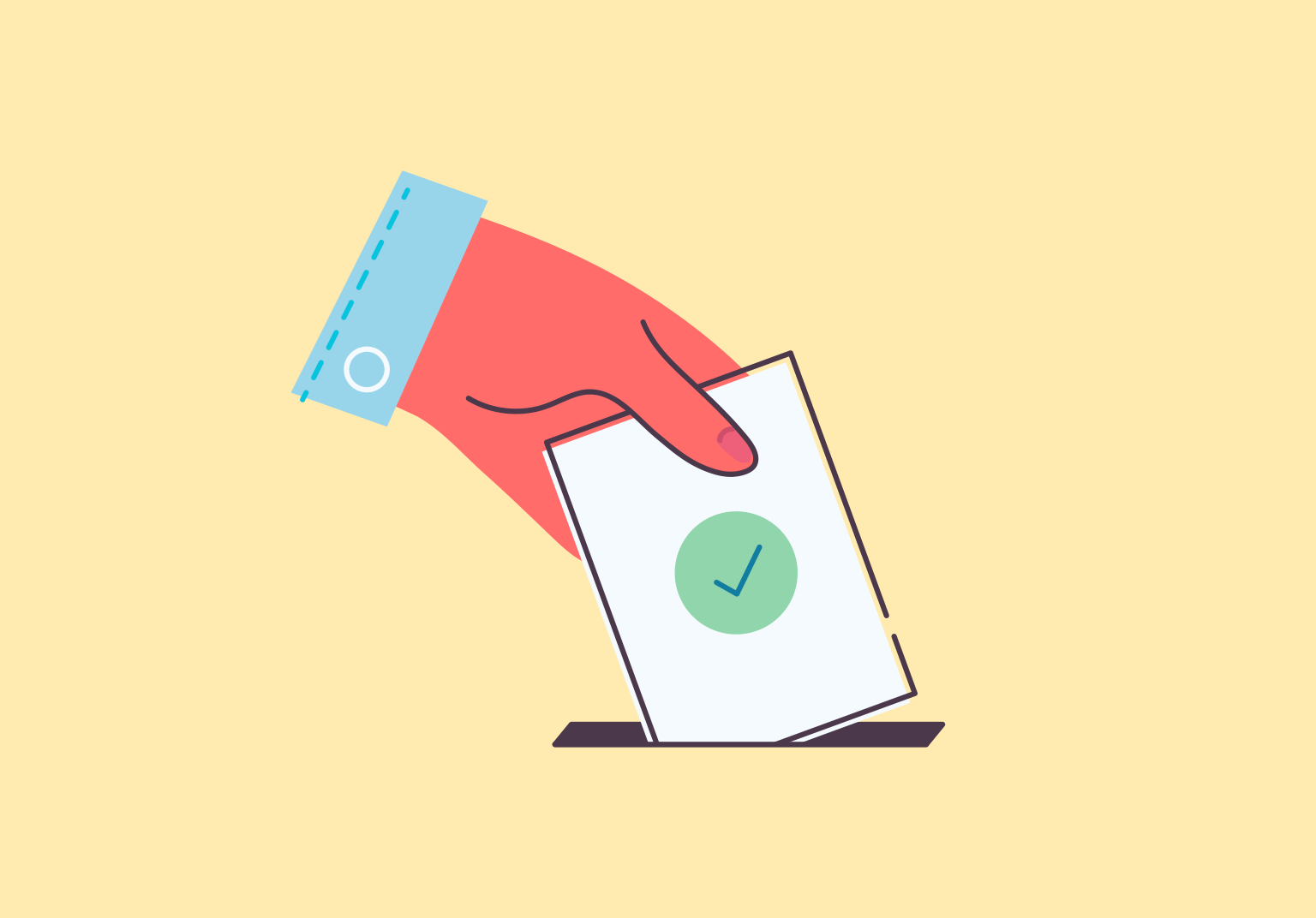 An illustration of a hand putting a ballot with a green checkmark in a slot