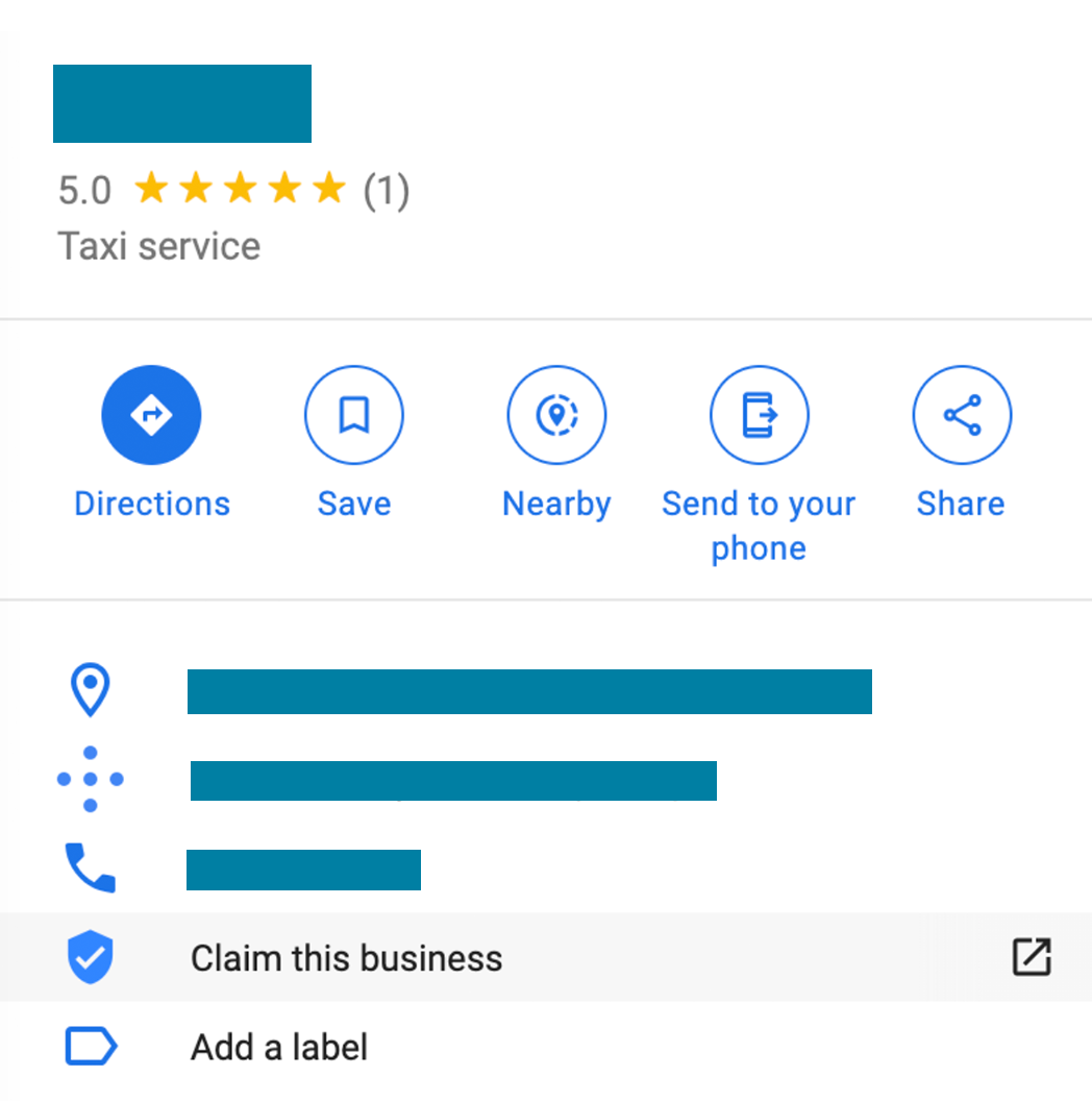A screenshot of an unclaimed business listing on Google Maps