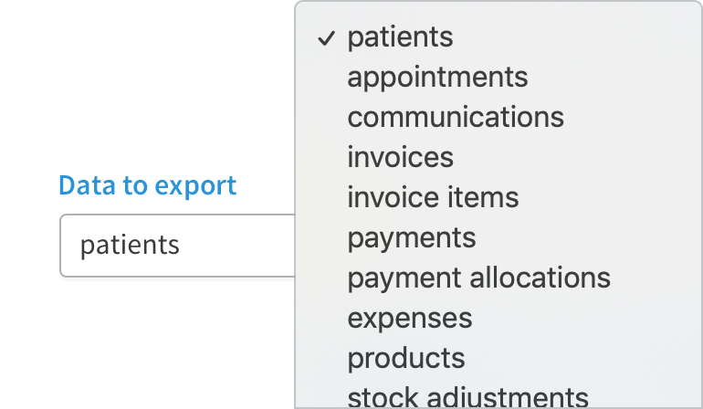 Export dropdown with multiple categories.