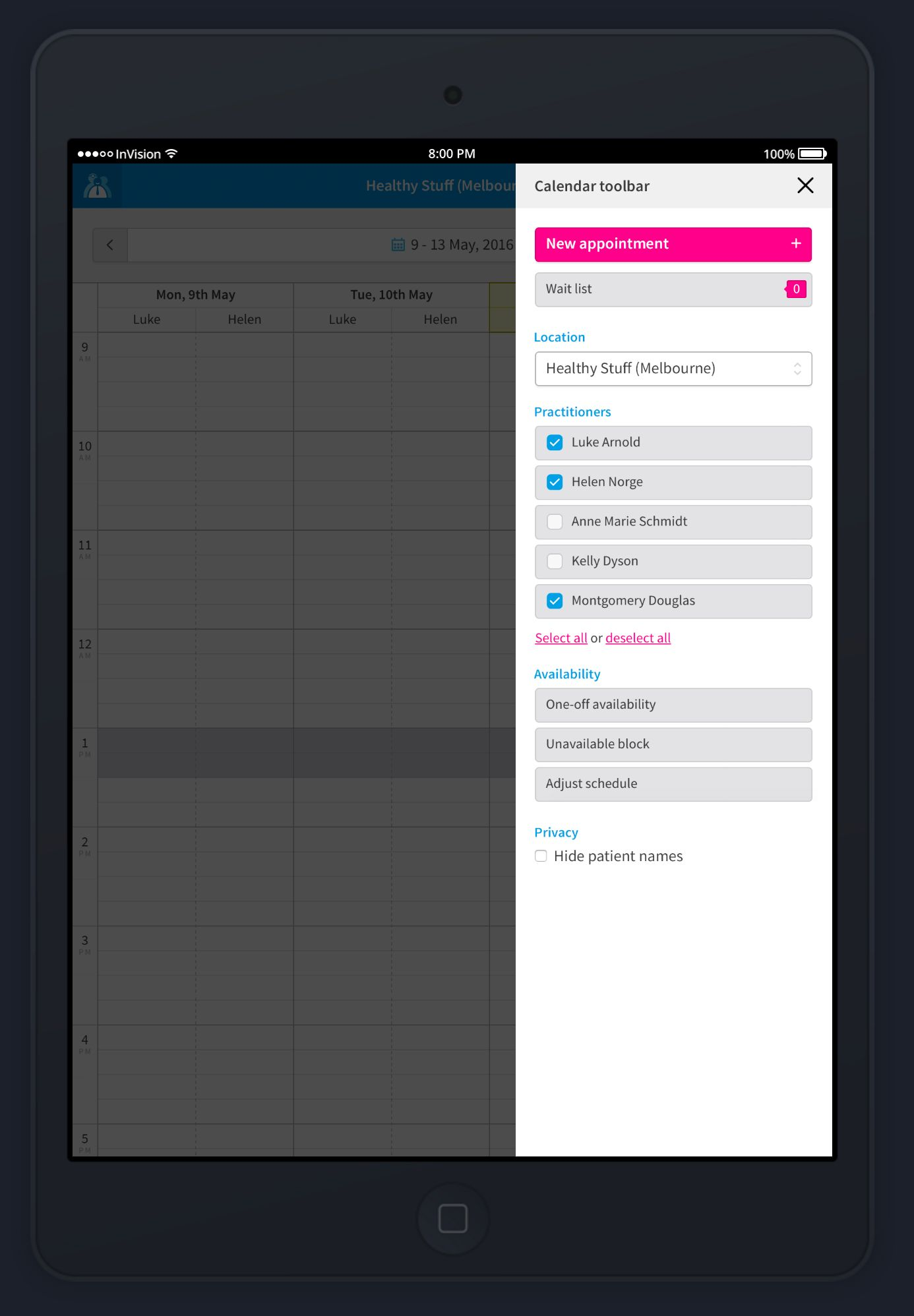 Cliniko's calendar in a tablet device.