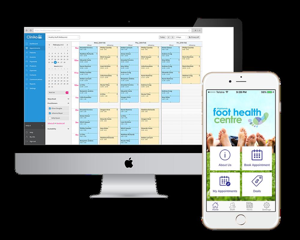 Cliniko and Nextin mobile app
