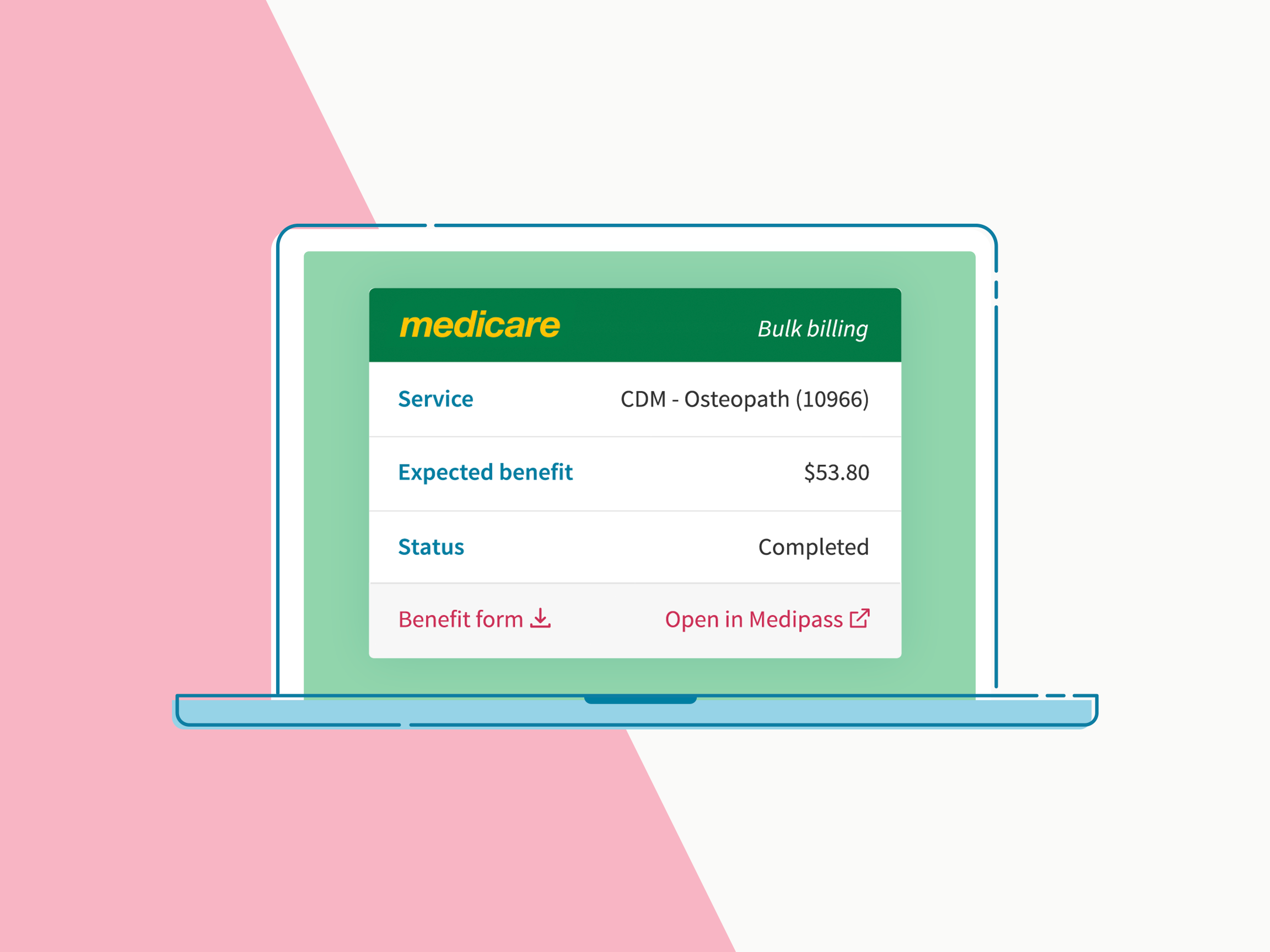 Cliniko Medicare claims screen