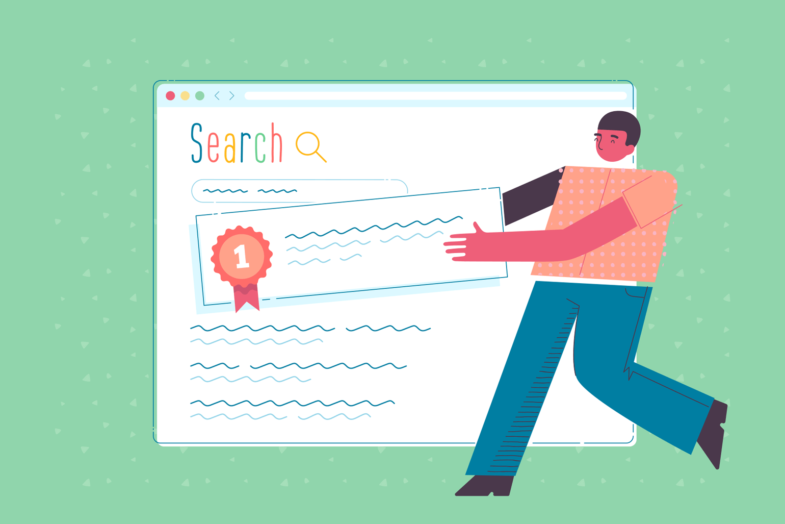 An illustration of a man moving his page to the top of a Google search page