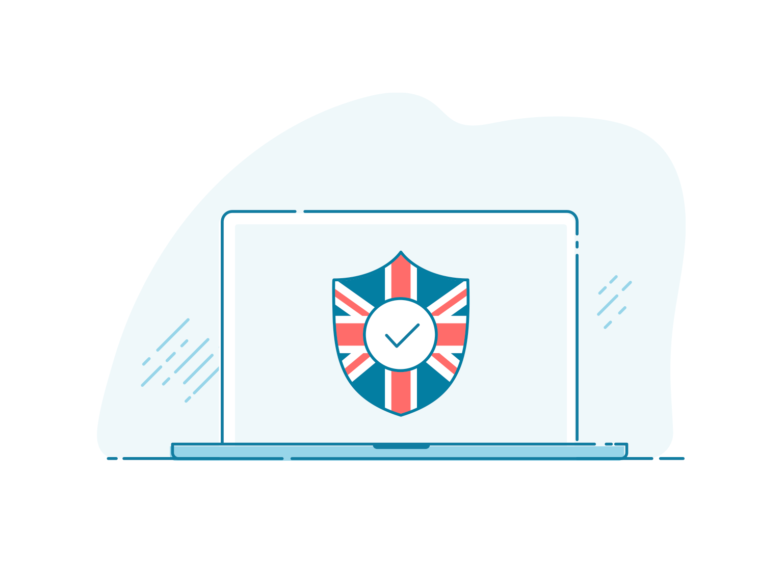 A laptop screen displaying a privacy shield with a British flag.