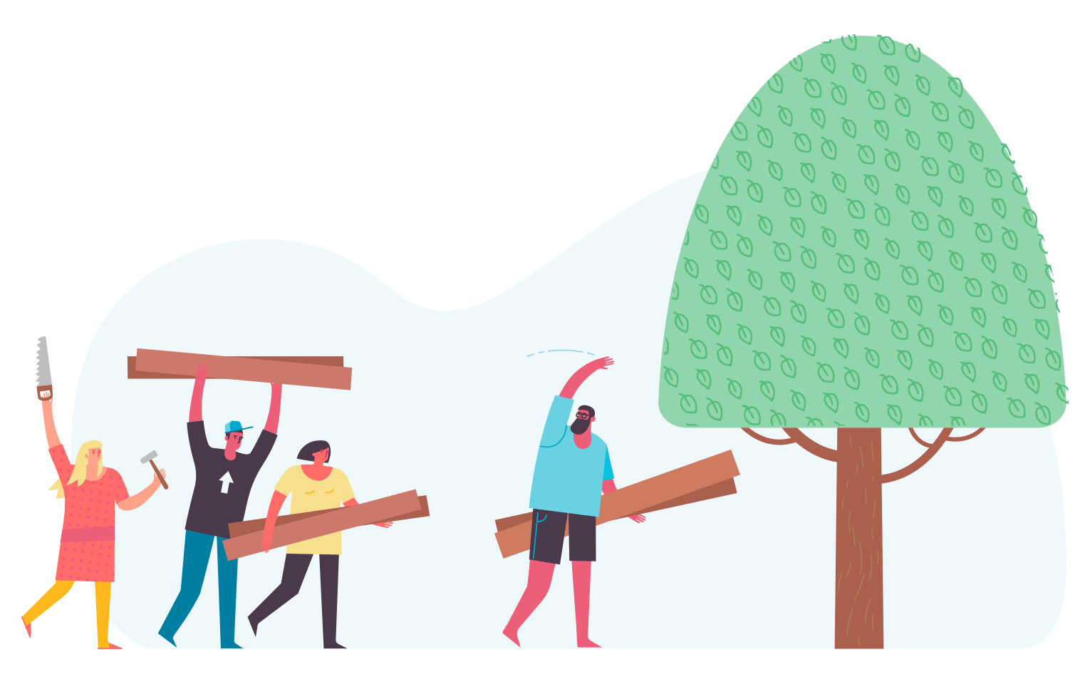 Illustration of a person beckoning to another group of people to help build a tree-house