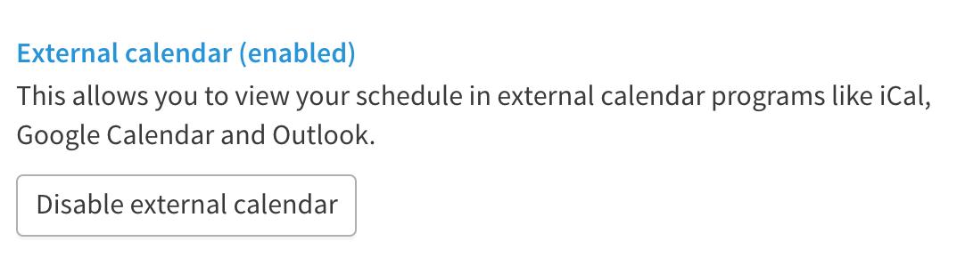 Example of button to disable external calendar.