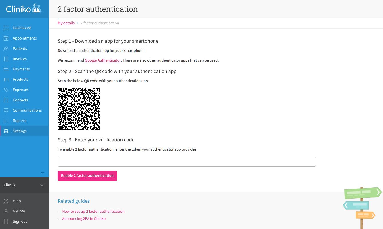 Two factor authentication settings page in Cliniko.