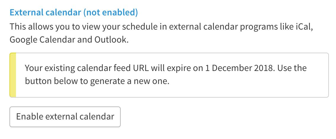 Button to enable external calendar.