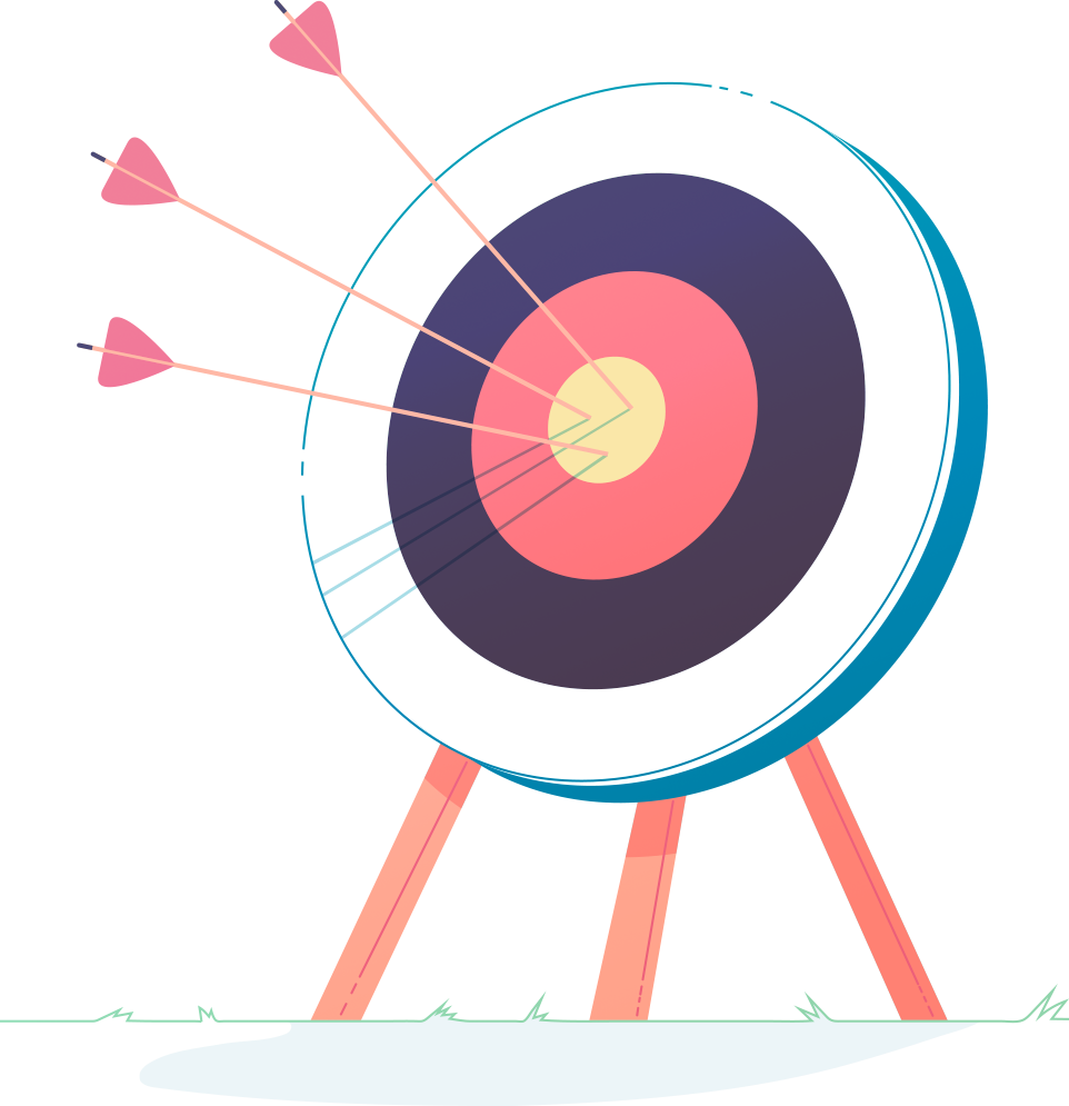 Bull's eye with arrows in the center