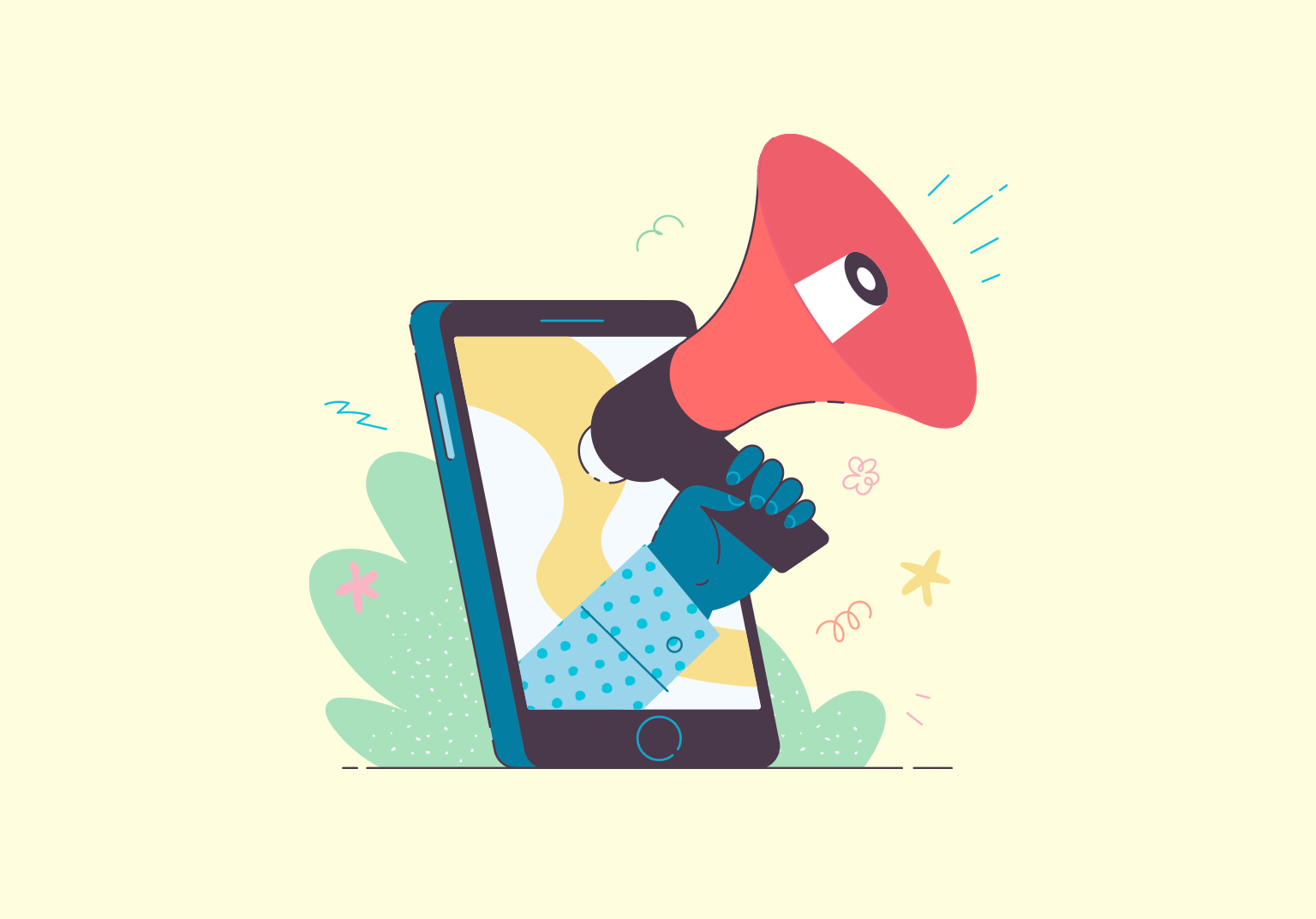 An illustration of a mobile phone with a hand holding a megaphone in the centre