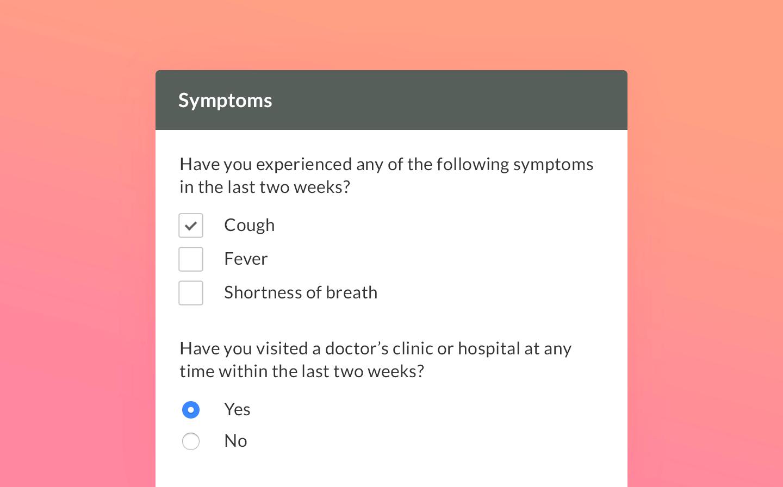 A screenshot of an online patient intake form.