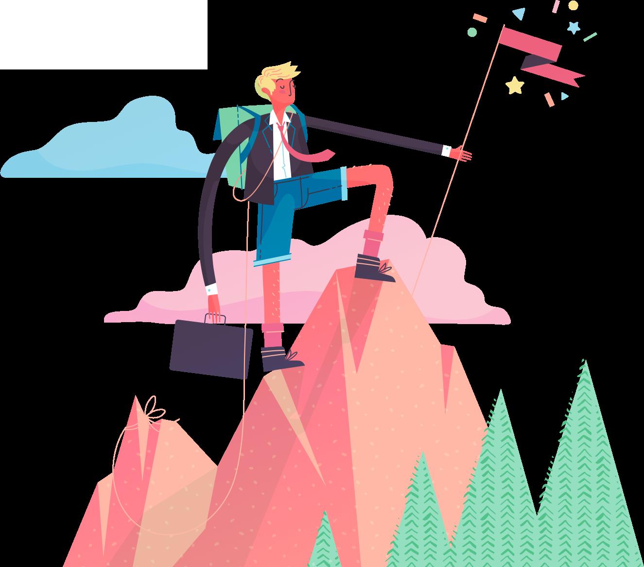 Man climbing a mountain.