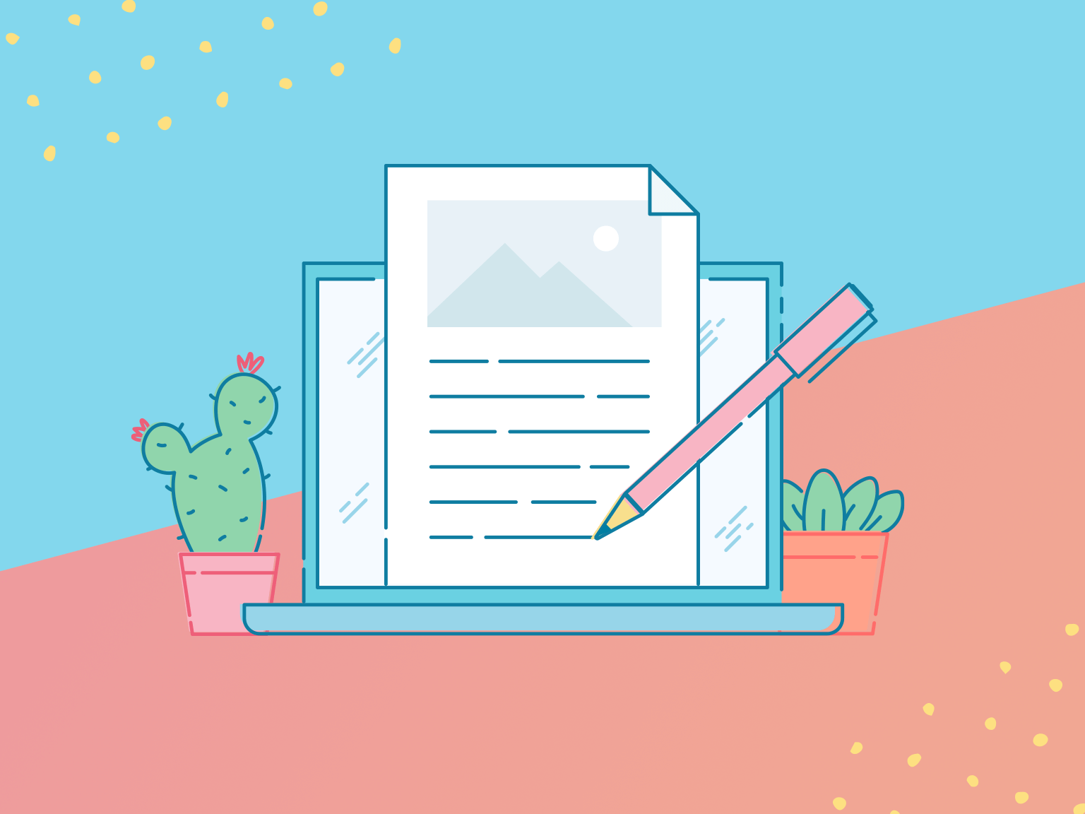 An illustration of a laptop with a stylised representation of a pen writing a blog on paper.
